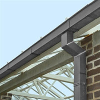 Zinc gutter and downpipe