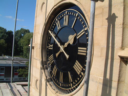 Black and gold skeleton clock