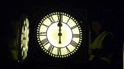 Pillar clock with internal lighting