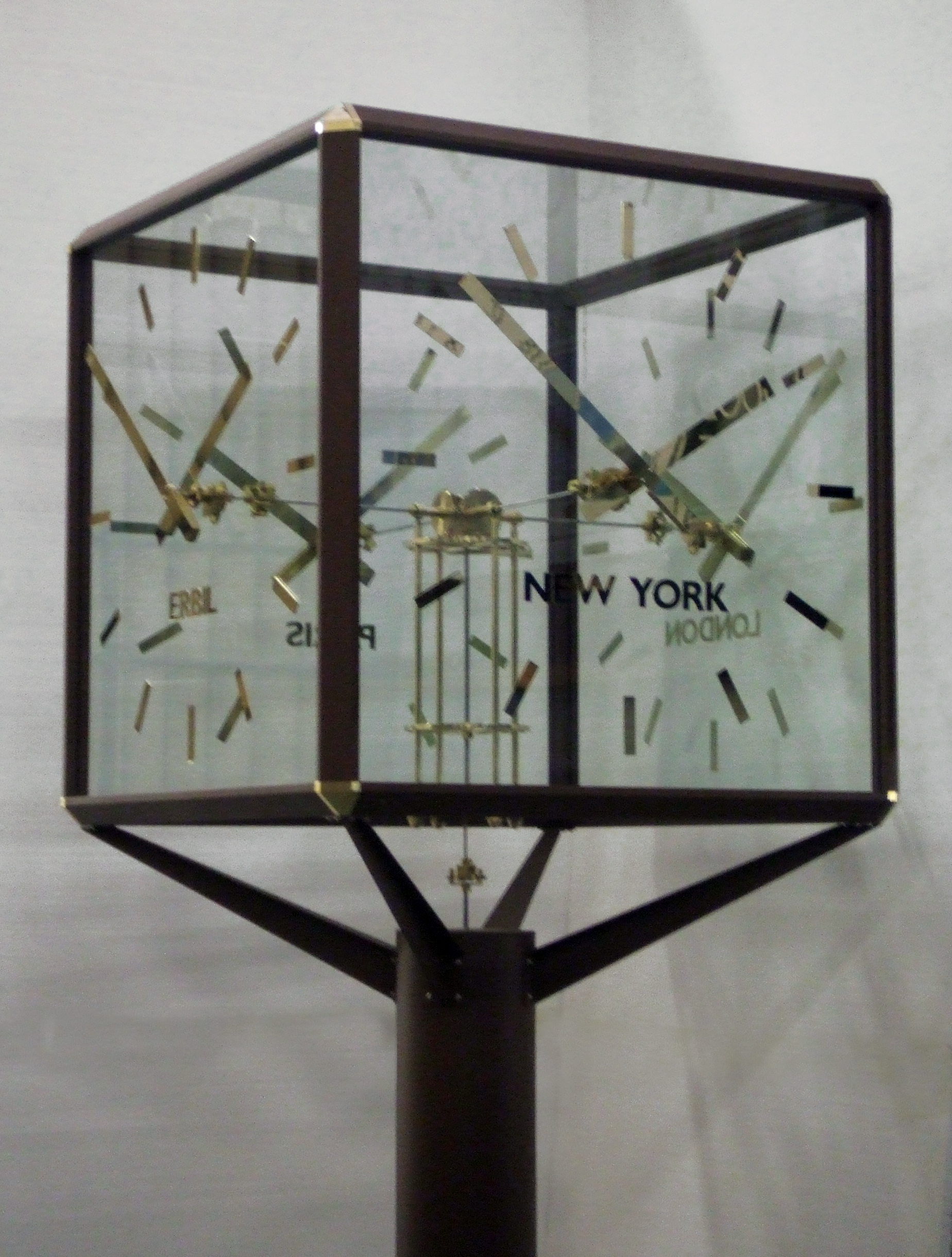 Glass pillar clock close up