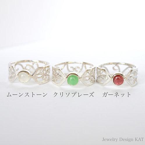 唐草の指輪(クロス・ラウンドカボ)