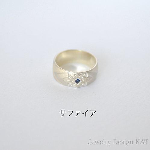 花飾りの指輪(石付き)
