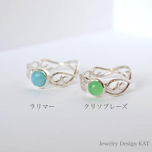 唐草の指輪(雲・ラウンドカボション5mm)