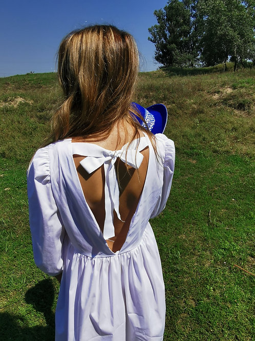 WHITE COTTON POPLIN DRESS WITH BOW TIE