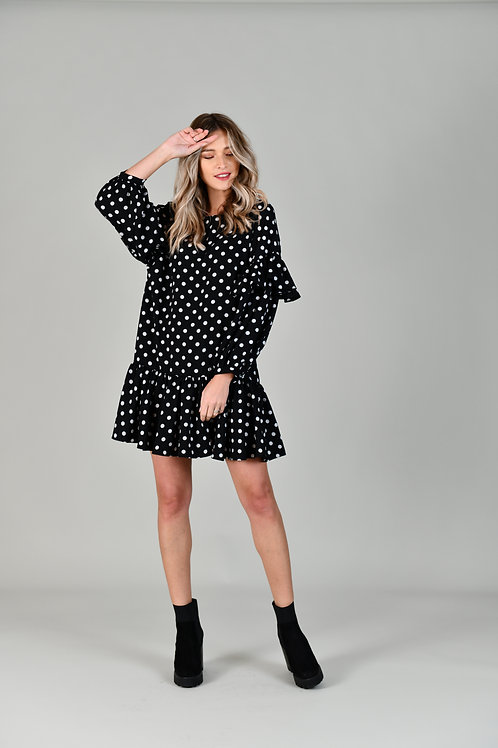 DOTS RUFFLED DRESS