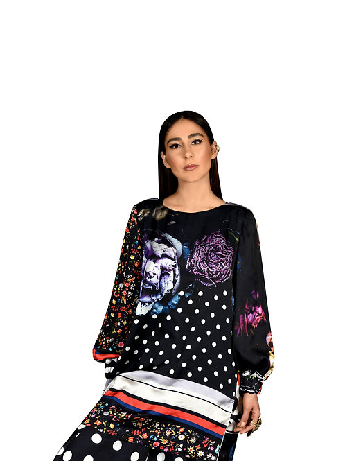 Oversize printed blouse
