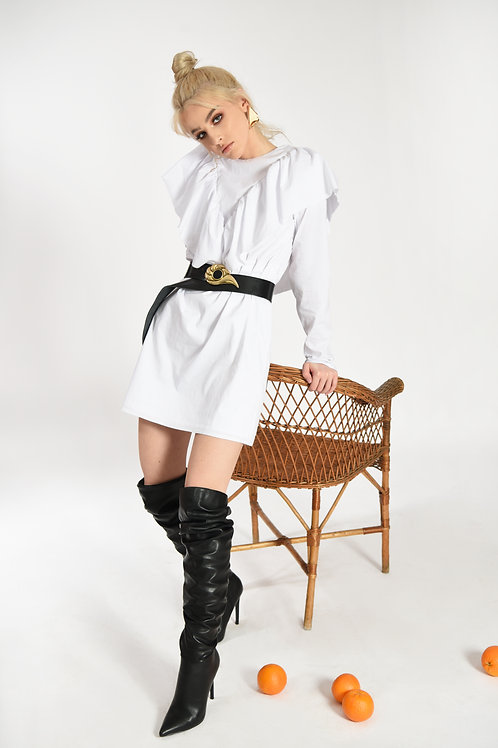 CAROLINE WHITE POPLIN  DRESS