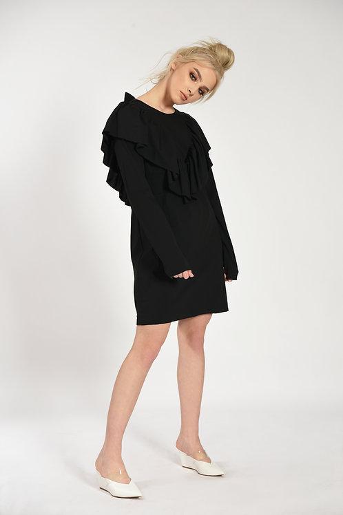 CAROLINE BLACK POPLIN  DRESS