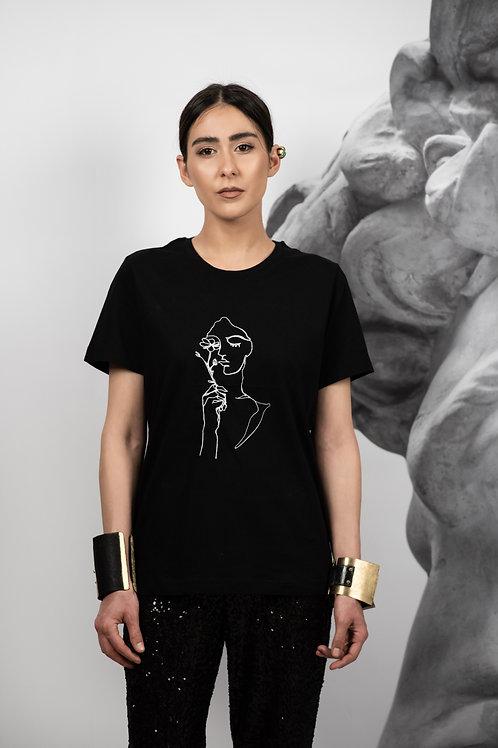Black portrait t-shirt