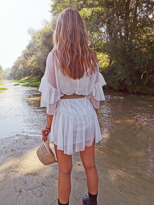 WHITE CHIFFON RUFFLED DRESS