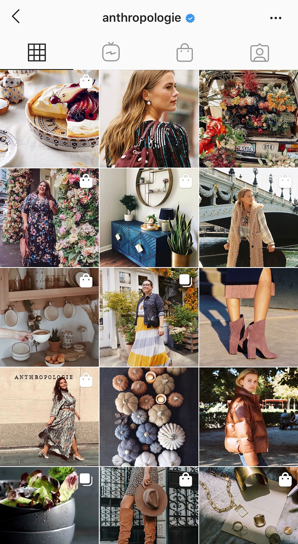 Anthropologie balances product imagery and lifestyle in a beautifully curated feed