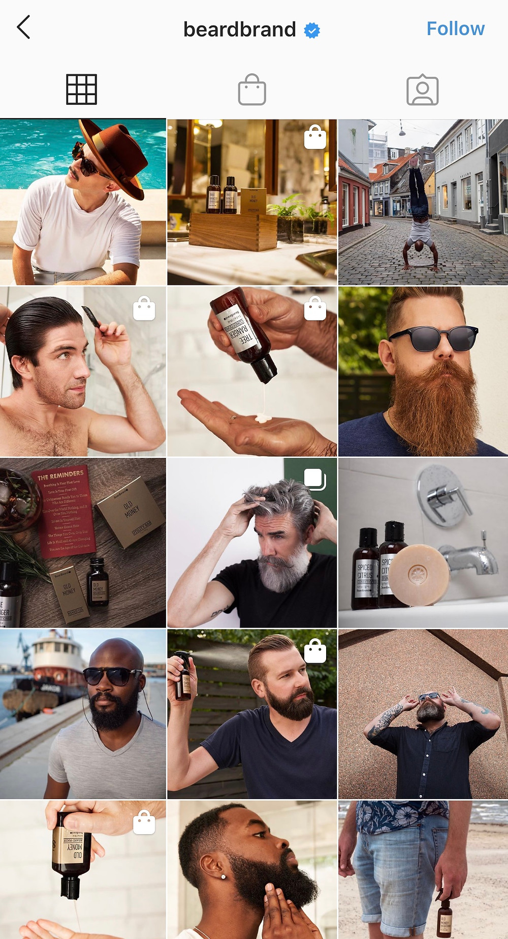 Beardbrand's feed shows off the fruits of their products labor in a fun way that gets the community involved.