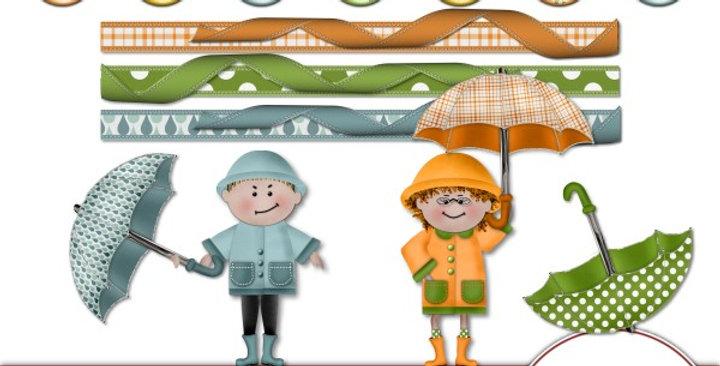 Umbrella Weather Element Pk 2 Scrapbooking Kit