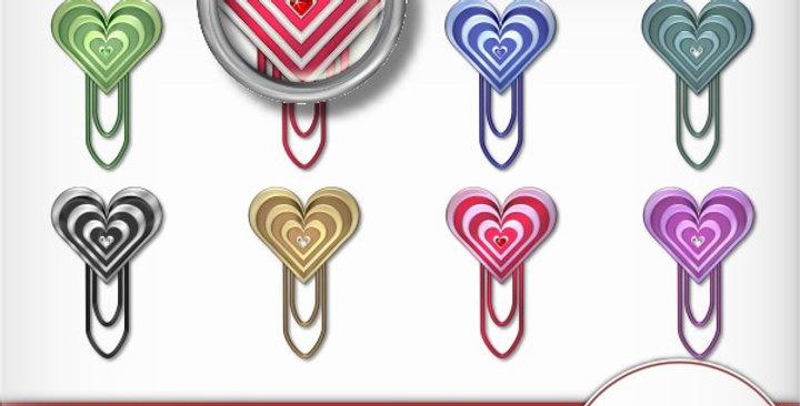 Striped Gem Heart Clip Scrapbooking Kit