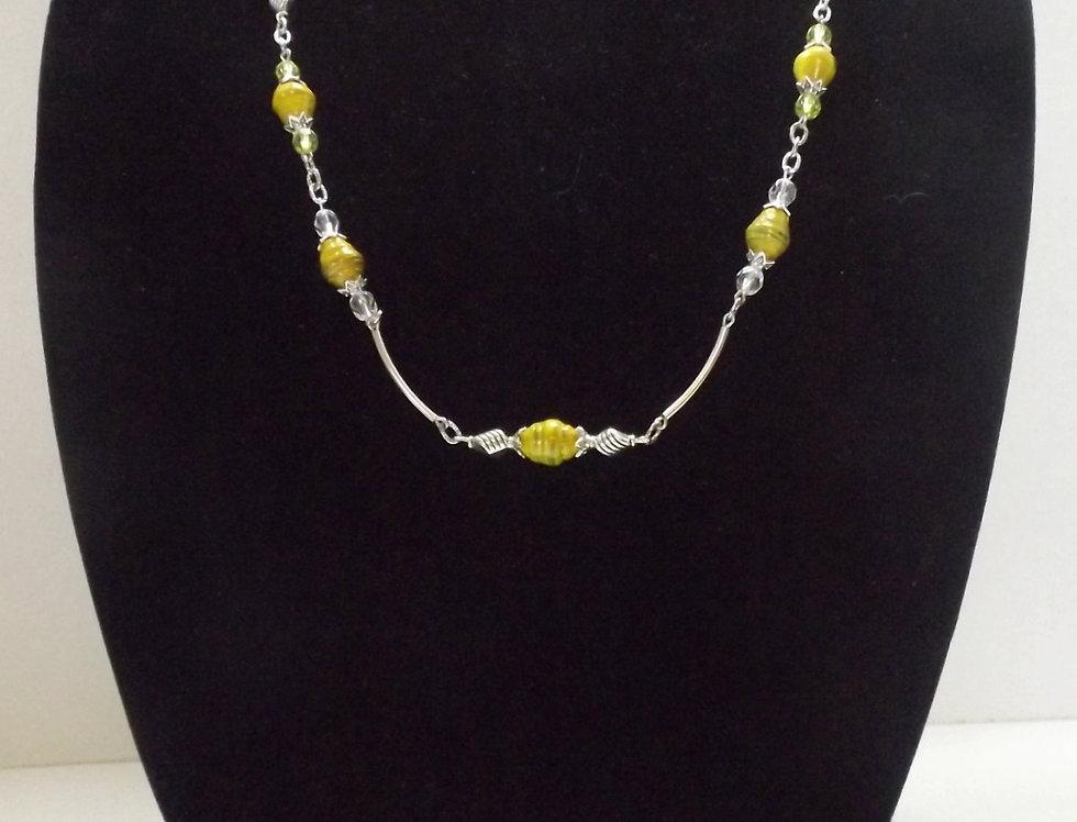 Paper Bead Yellow Necklace/Bracelet/Earring Set