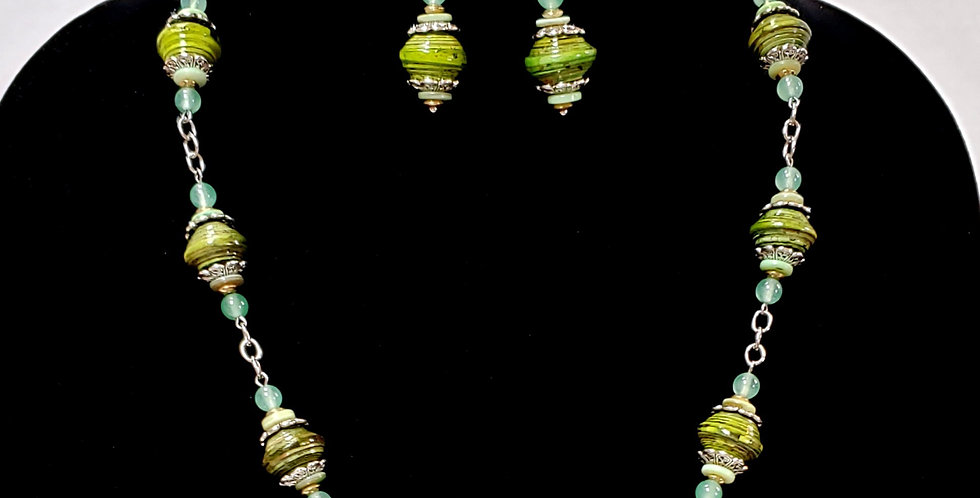 Paper Bead Green Jewelry Set/Necklace