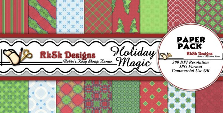 Holiday Magic Digital Scrapbooking Paper Pk