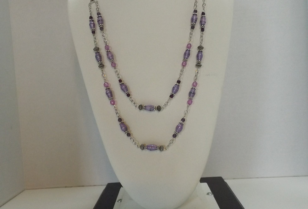 Paper Bead Purple 2 Tier Cascading Necklace
