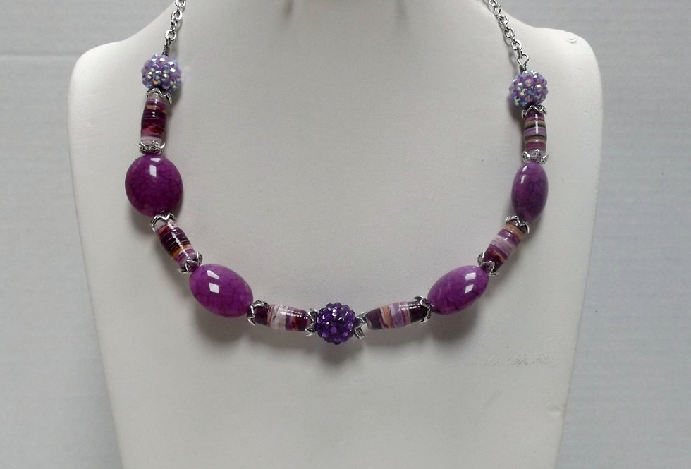Paper Bead Purple Necklace