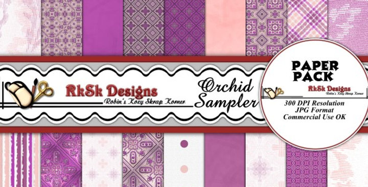 Orchid Sampler Digital Scrapbooking Paper Pk