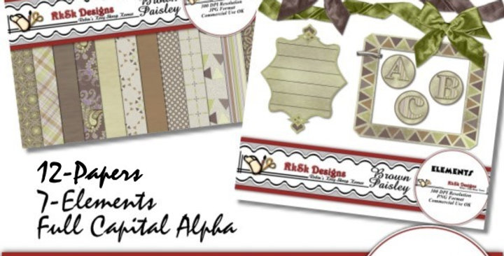 Brown Paisley Mini Scrapbooking Kit