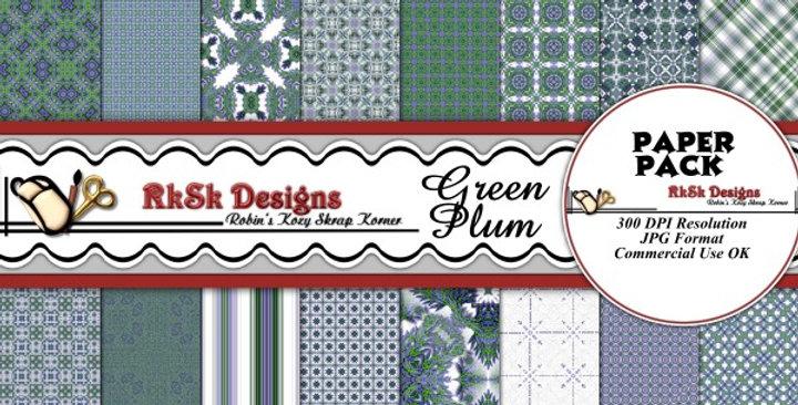 Green Plum Digital Scrapbooking Paper Pk