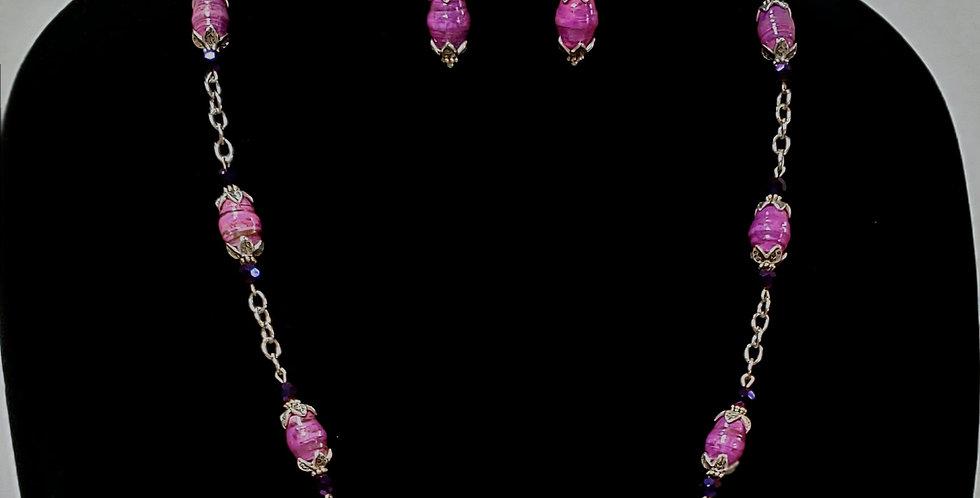Paper Bead Purple/Pink Jewelry Set/Necklace