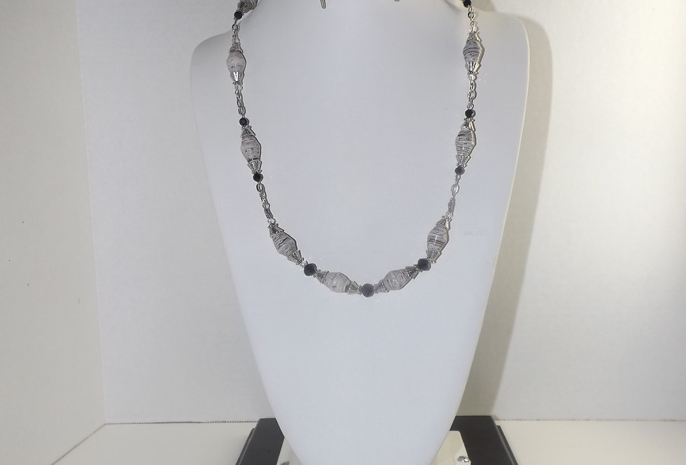 Paper Bead Grey Necklace
