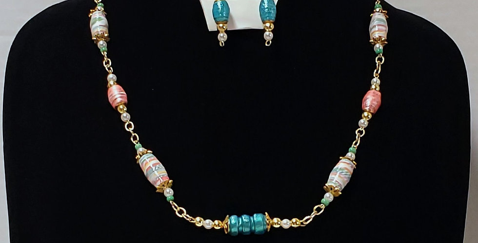 Paper Bead Lt Coral, Turquoise & White Jewelry Set/Necklace