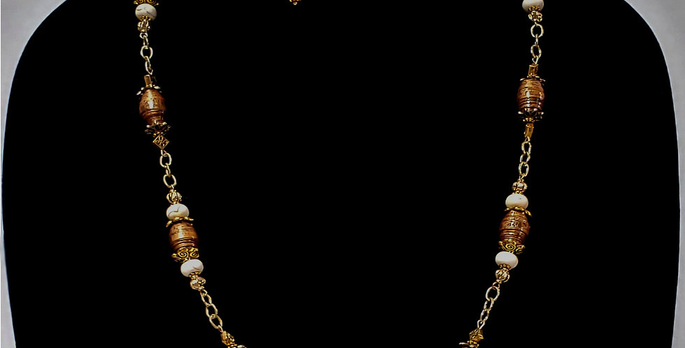 Paper Bead Brown/White Jewelry Set/Necklace