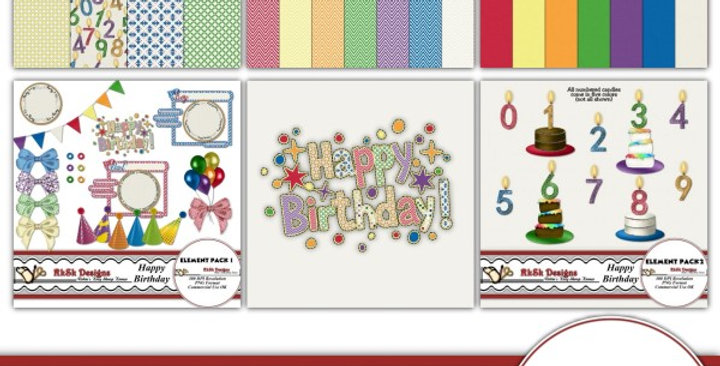 Happy Birthday Digital Scrapbooking Kit
