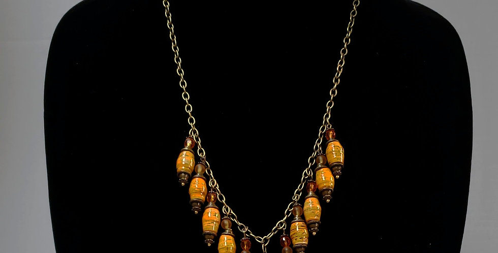 Paper Bead Golden Jewelry Set, Paper Bead Golden Necklace