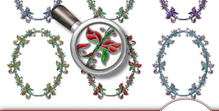 Oval Metal Floral Frames Scrapbooking Kit