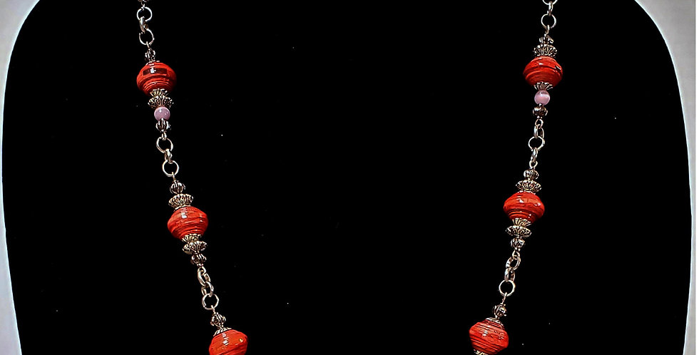 Paper Bead Coral/Pink Jewelry Set/Necklace