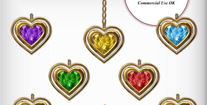 Gold Jeweled Heart Charm  Scrapbooking Kit