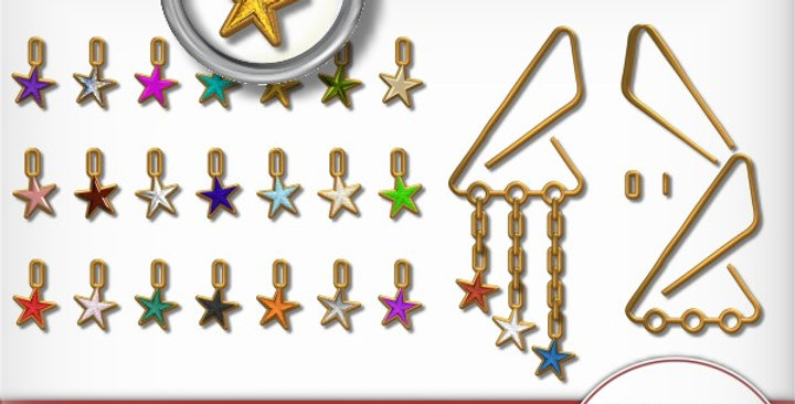 Gold Clip with Stars Scrapbooking Kit