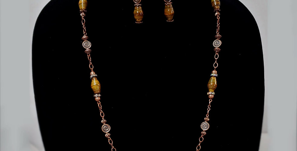 Paper Bead Olive /Gold Jewelry Set/Necklace