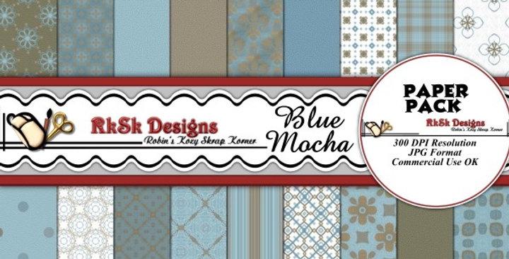 Blue & Mocha Digital Scrapbooking Paper Pk