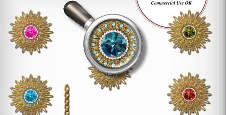 Jeweled Gold Sunburst Charms Scrapbooking Kit