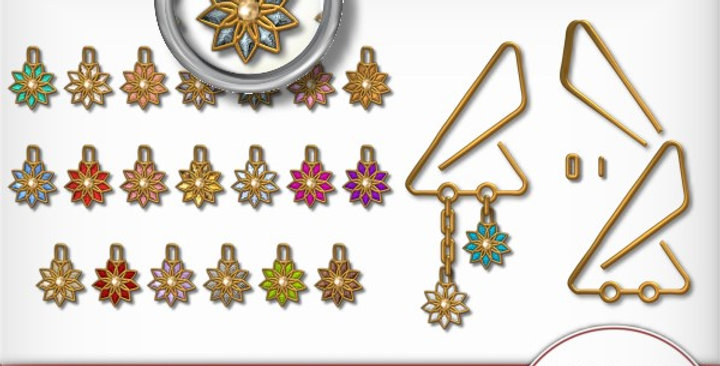 Gold Clip with Flowers Scrapbooking Kit