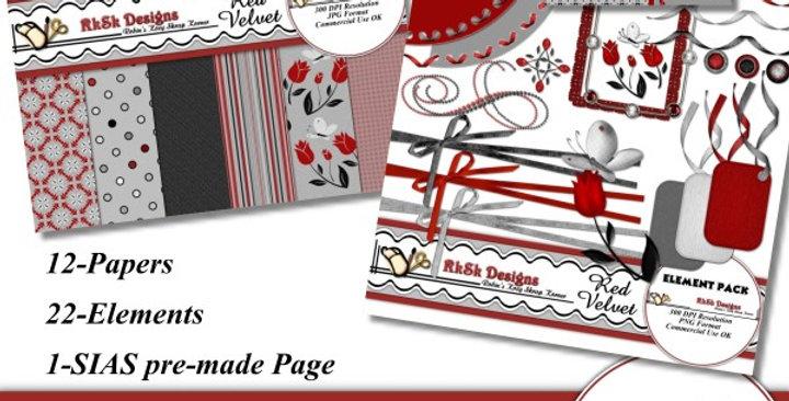 Red Velvet Mini Scrapbooking Kit