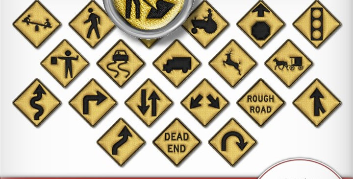 Road Sign Buttons Scrapbooking Kit