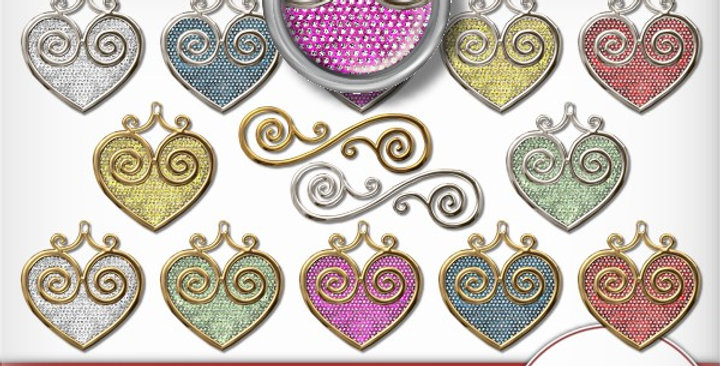 Gold & Silver Rimmed  Heart Charms Scrapbooking Kit