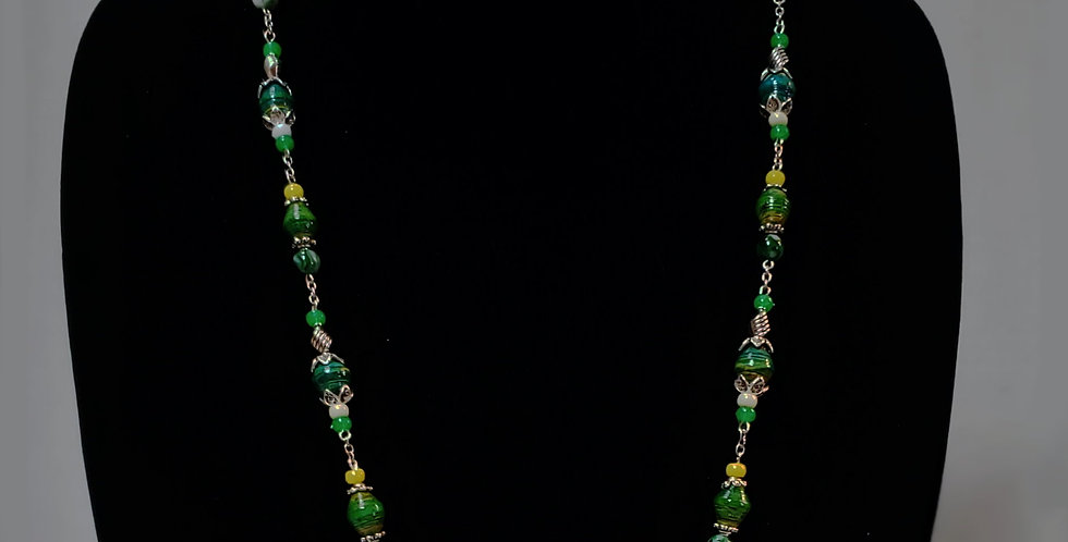Paper Bead Green Necklace Jewelry Set/Necklace