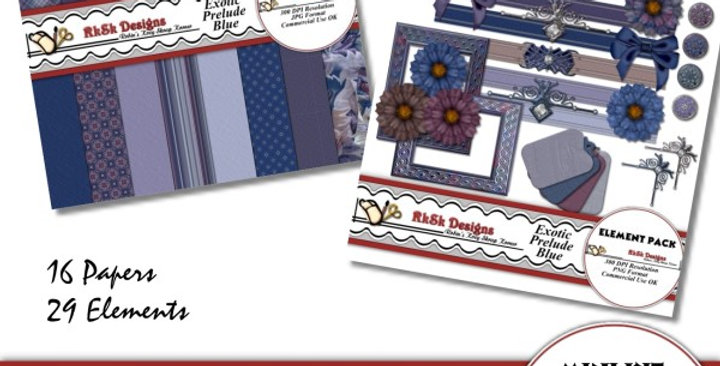 Exotic Prelude Blue Mini Scrapbooking Kit