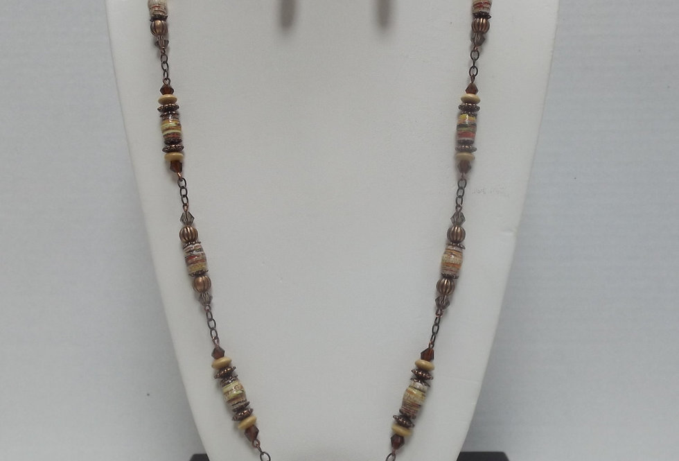 Paper Bead Brown Necklace/Earring Set