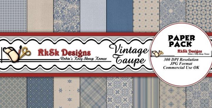 Vintage Taupe Digital Scrapbooking Paper Pk