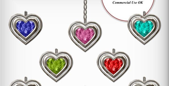 Silver Jeweled Heart Charm  Scrapbooking Kit