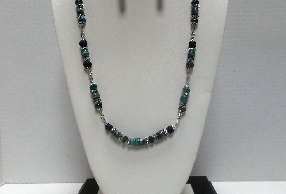 Paper Bead Turquoise Necklace/Earring Set