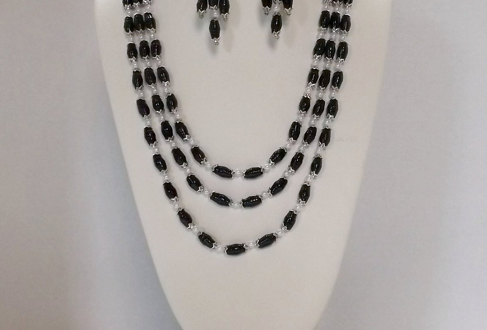 Paper Bead Black 3 Tier Cascading Necklace/Bracelet/Earring Set